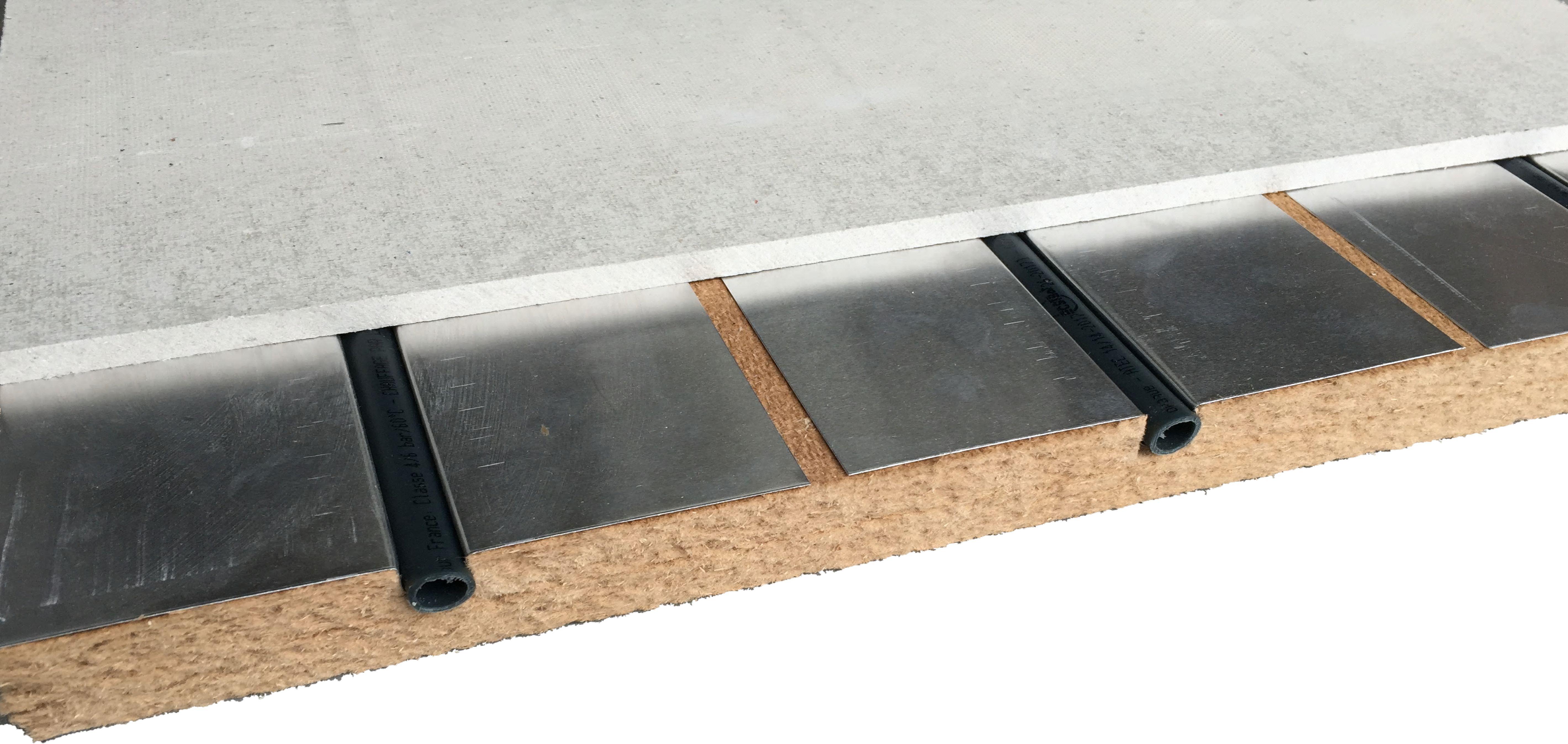 Plancher chauffant rafraîchissant pour boucle d'eau tempérée locale
