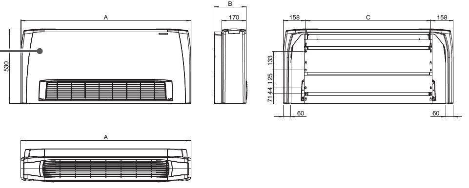 Dimensions du radiateur réversible pour climatisation écologique