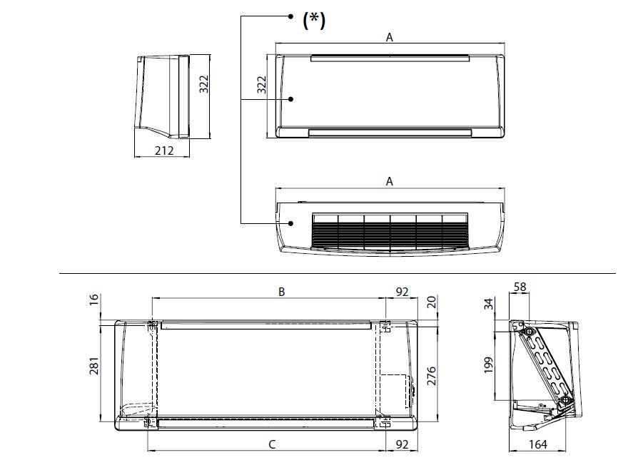Dimensions du radiateur réversible mural 18m²