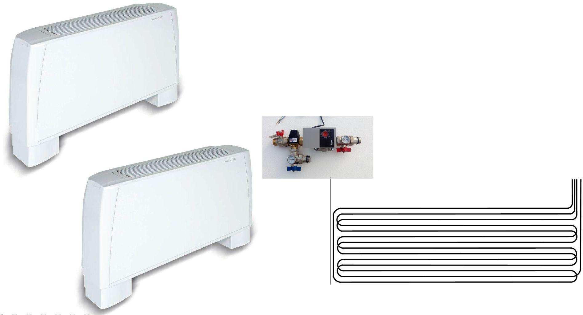 Climatisation pour combles 2 pièces - radiateur réversible - géocooling