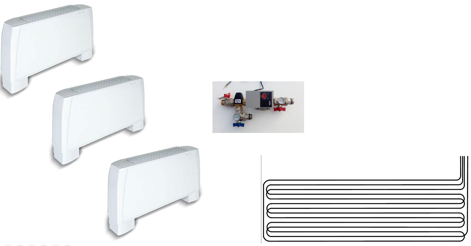 Climatisation pour combles 3 pièces - radiateur réversible - géocooling