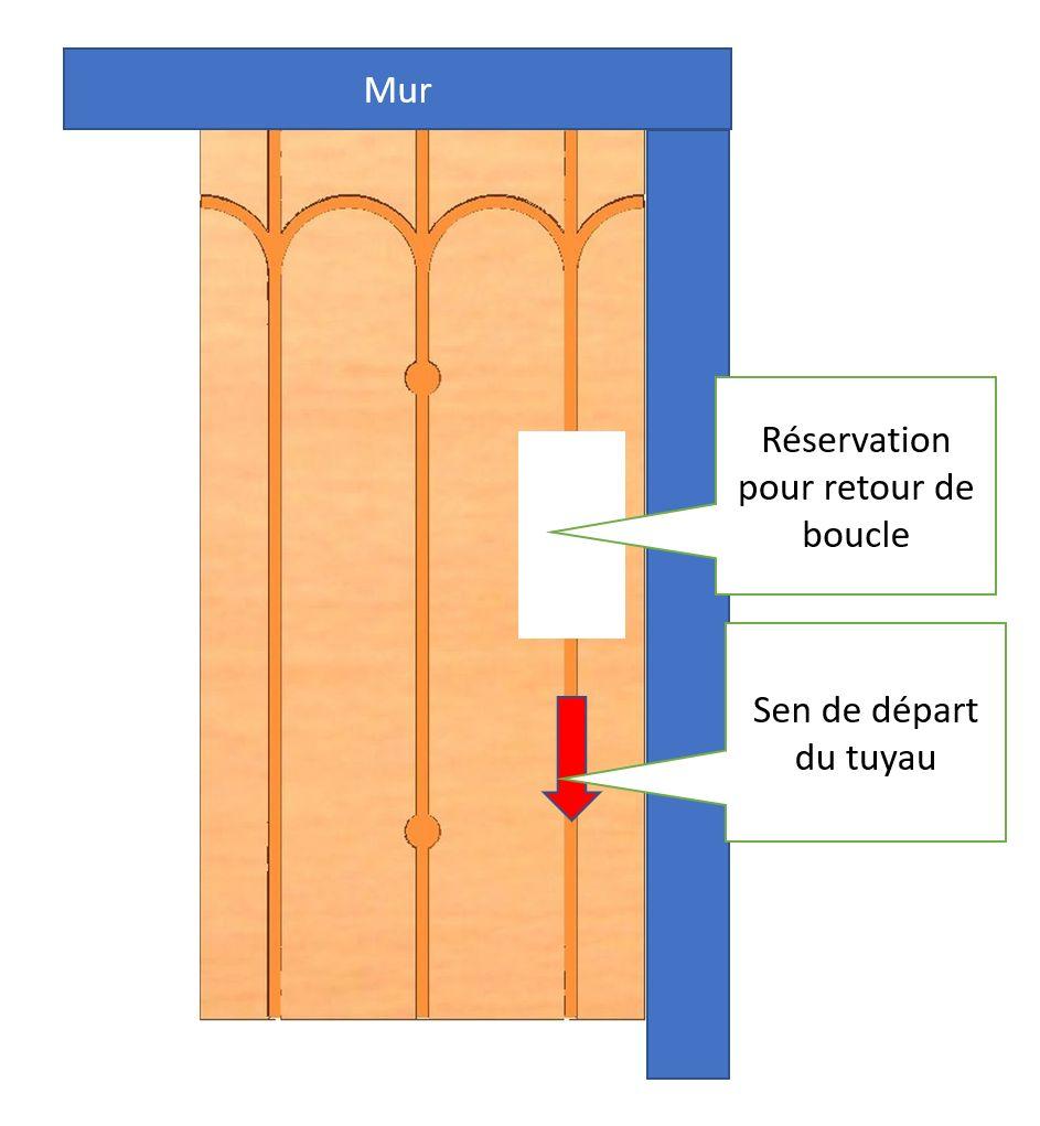 Réservation pour retour de boucle du plafond chauffant rafraîchissant