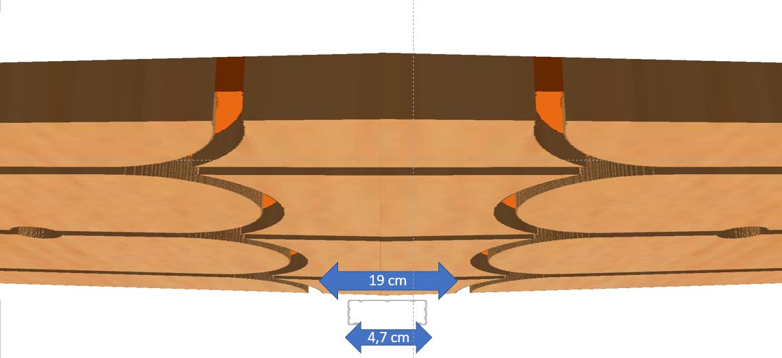 Taille du rail de cloison par rapport au passage de tuyaux du plafond chauffant rafraîchissant