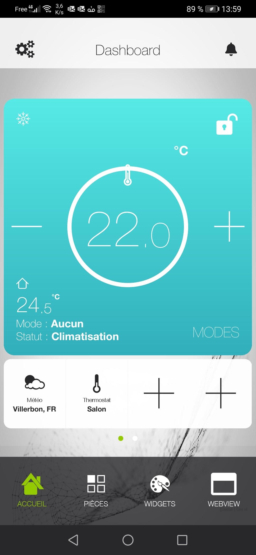 Interface thermostat & point de rosée sur téléphone