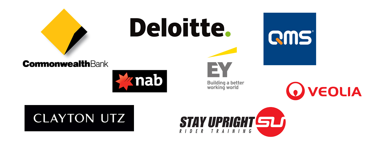 Commonwealth Bank, Deloitte, QMS, NAB, EY, VEOLIA, CLAYTON UTZ, STAY UPRIGHT RIDER TRAINING
