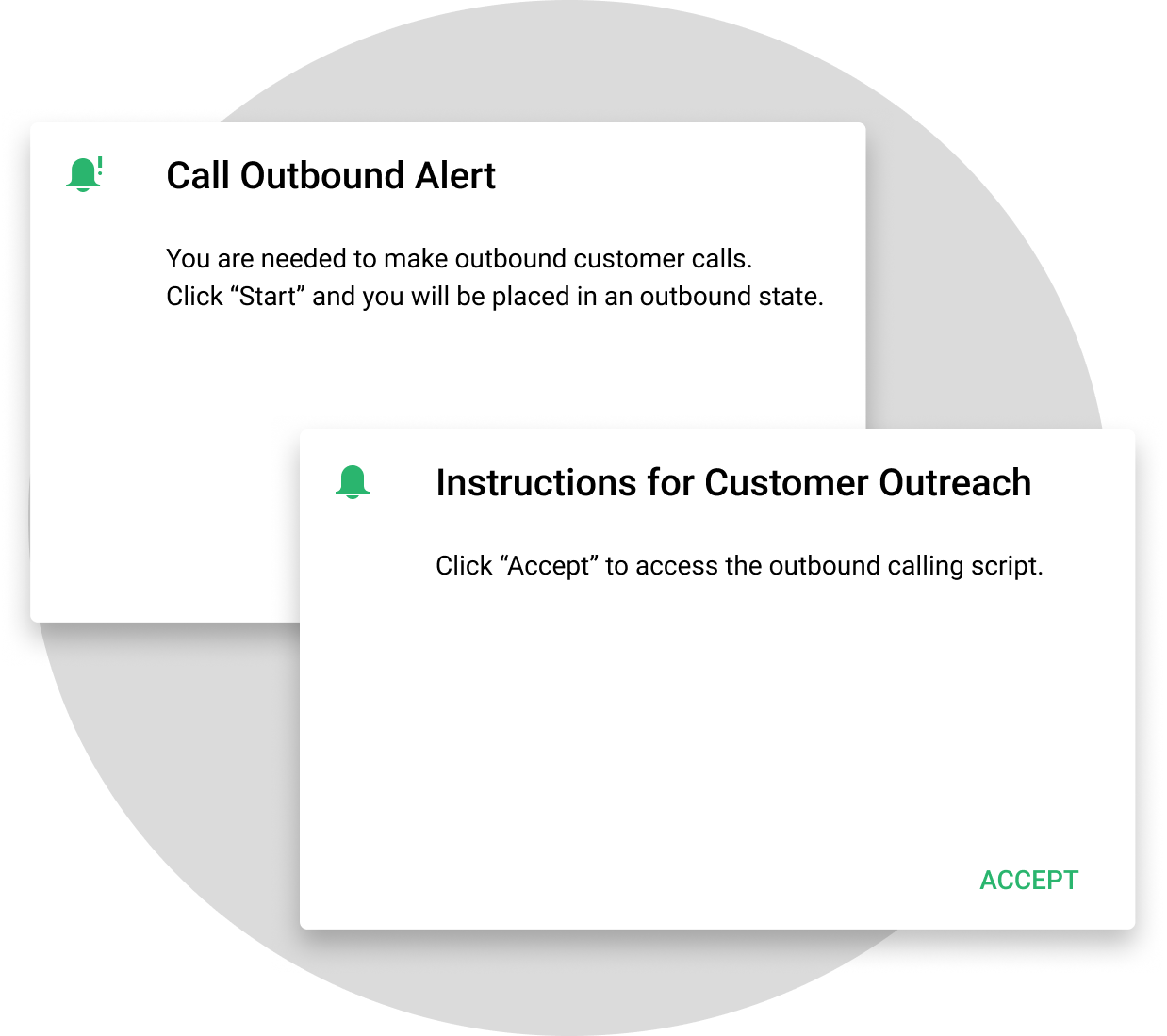 Call outbound alert to reach out to customers in advance