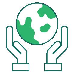 managed services orange hands holding the world