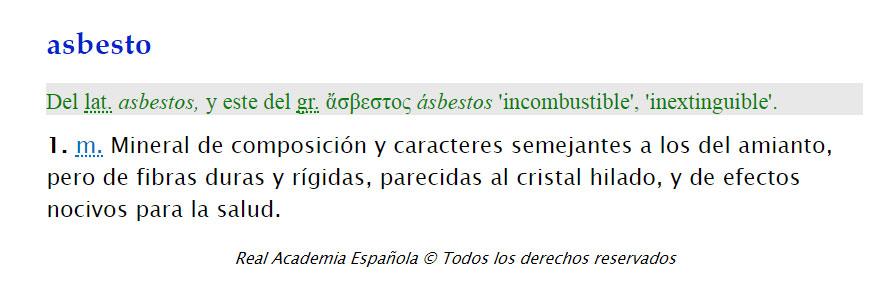 Definición de asbesto.