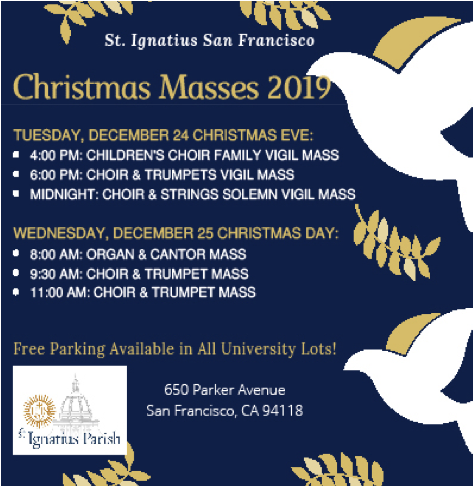 St Ignatius Parish Christmas Mass Schedule St Ignatius
