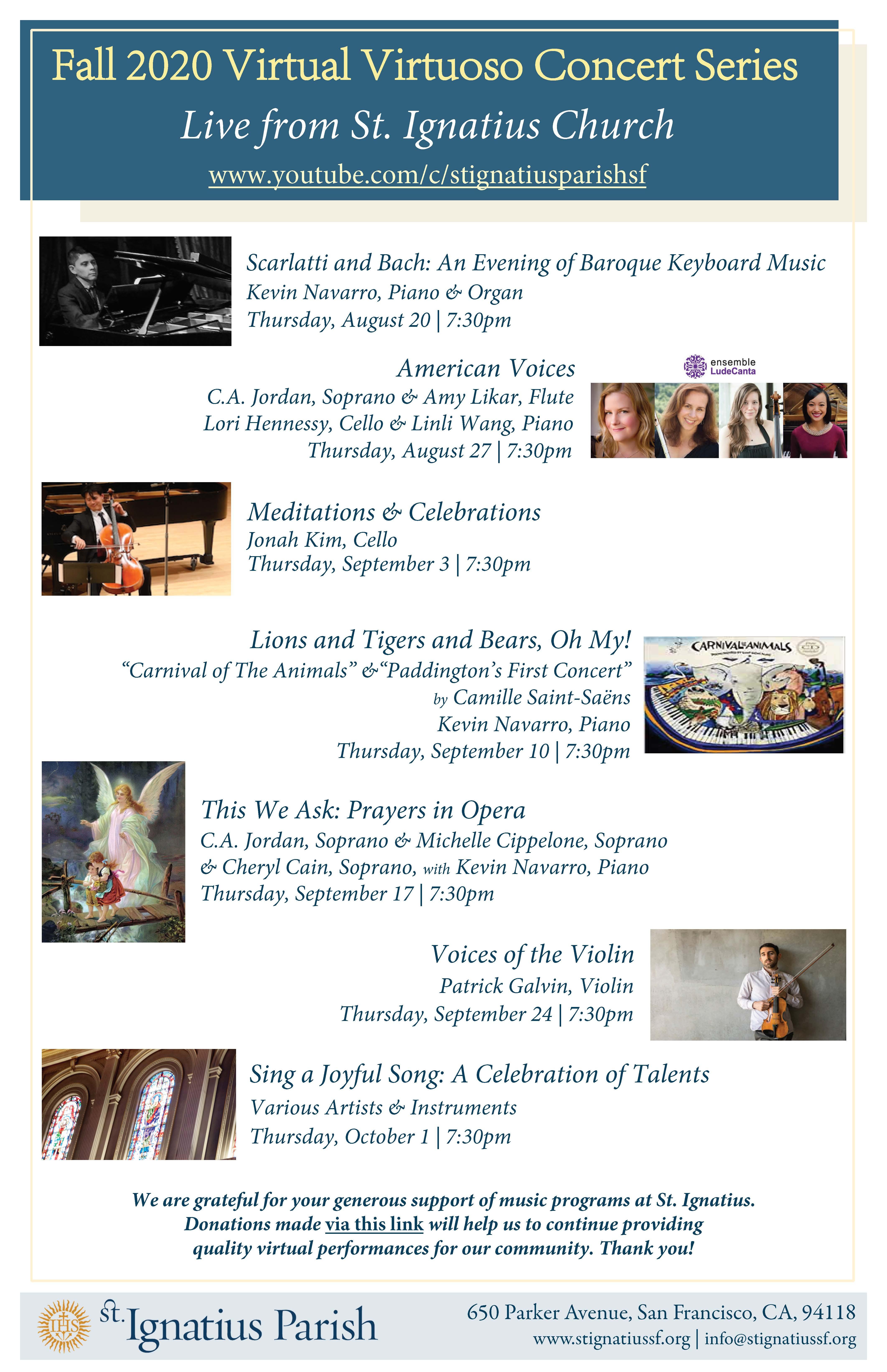 St Ignatious Church Sf Christmas Schedule 2020 Fall 2020 Virtual Virtuoso Concert Series   St. Ignatius