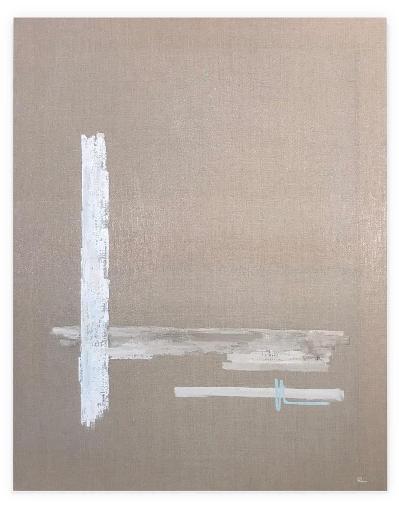 Obra Linum colgada en pared blanca