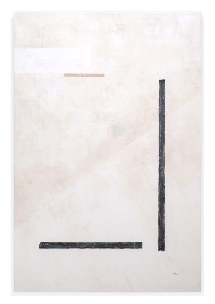 Obra Elementos I colgada en pared blanca