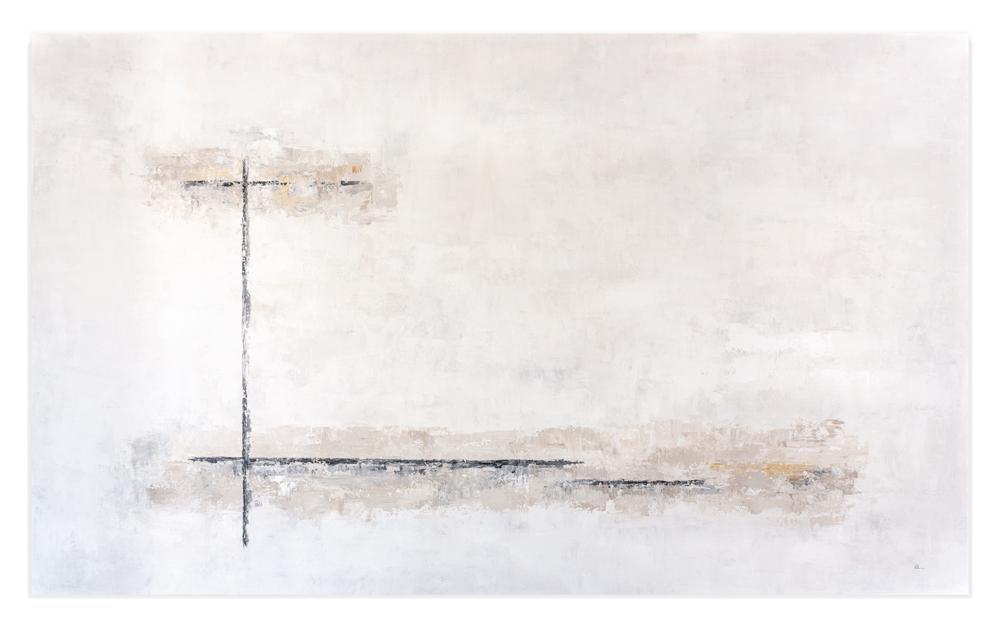 Obra Blanco Duna colgada en pared blanca