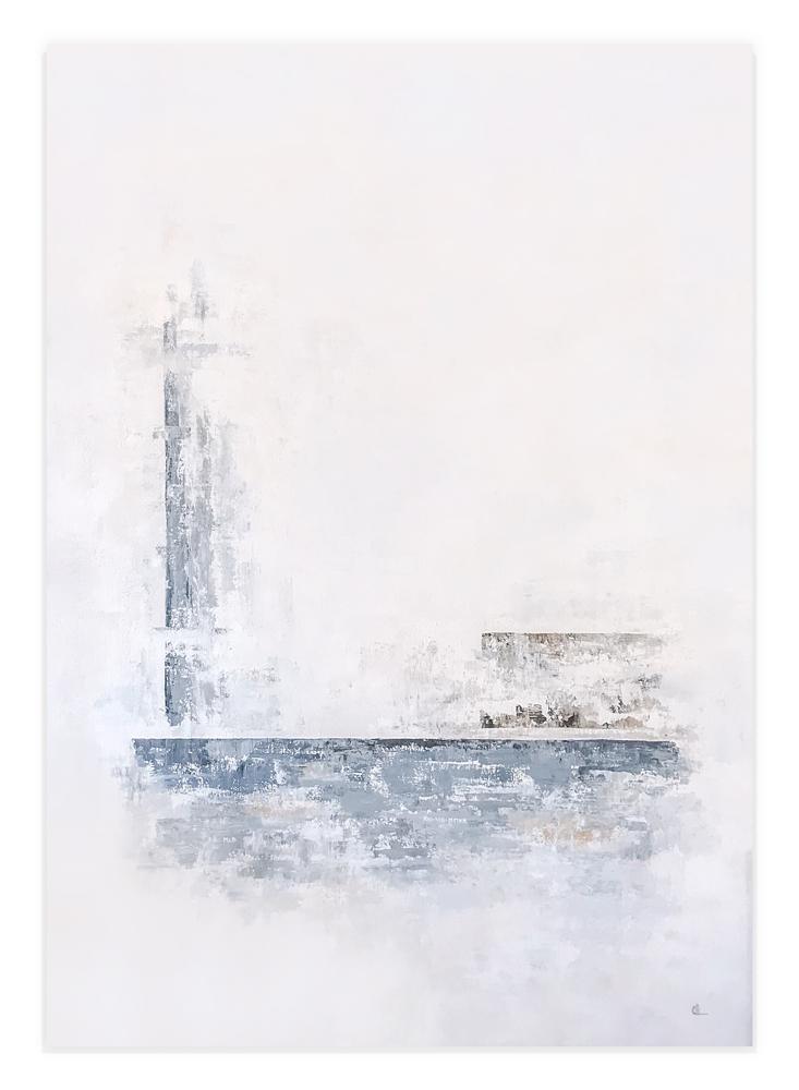 Obra El Norte de K colgada en pared blanca