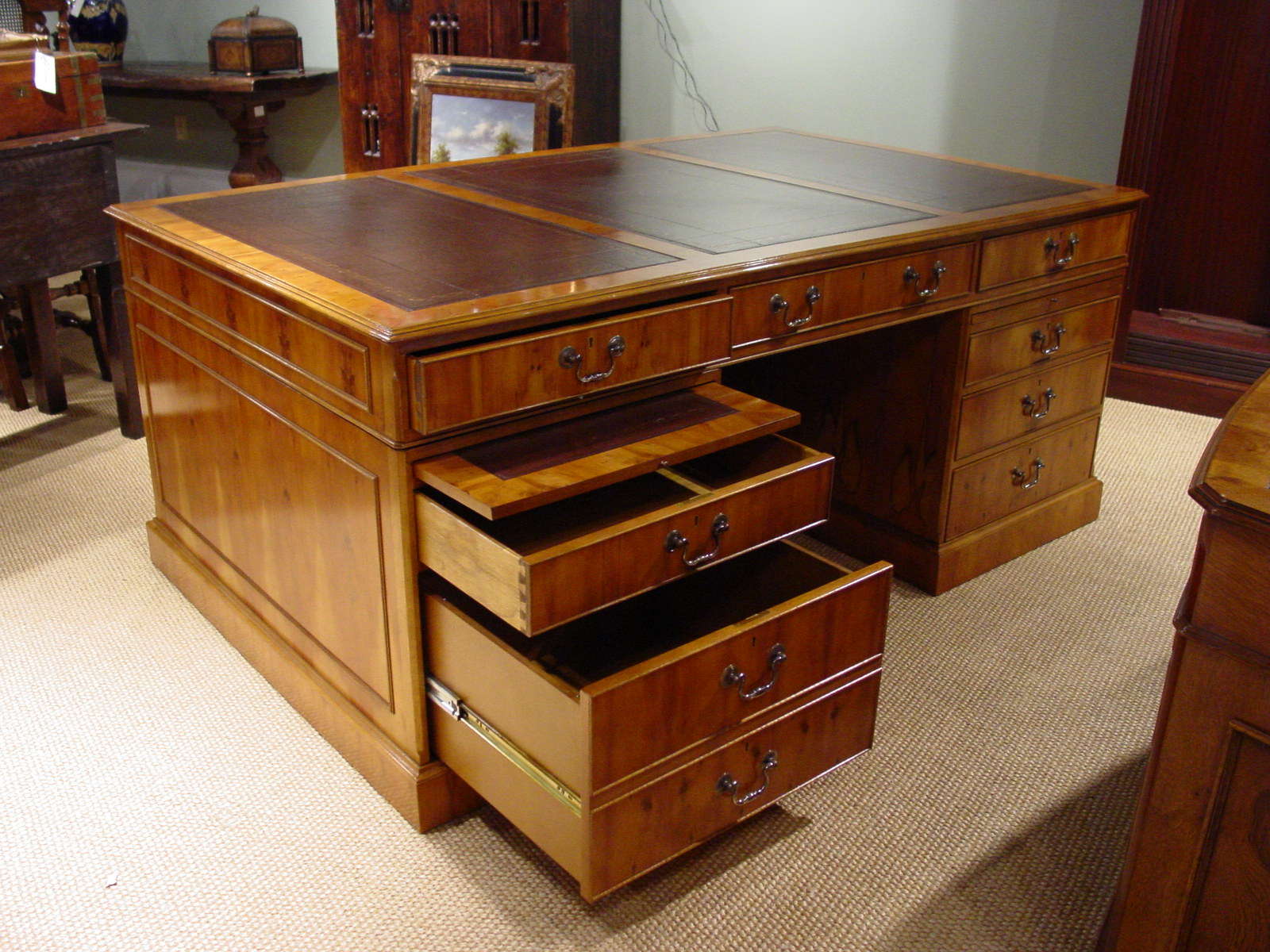 Yew Wood Pedestal Desk Leather Top