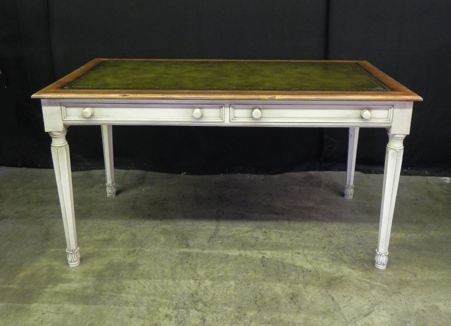 Painted Writing Desk With Leather Top