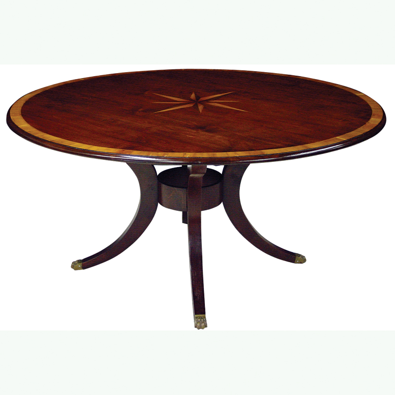 Mid Cherry Finish Yew Wood Banded 72 Round Table With Starburst Inlay