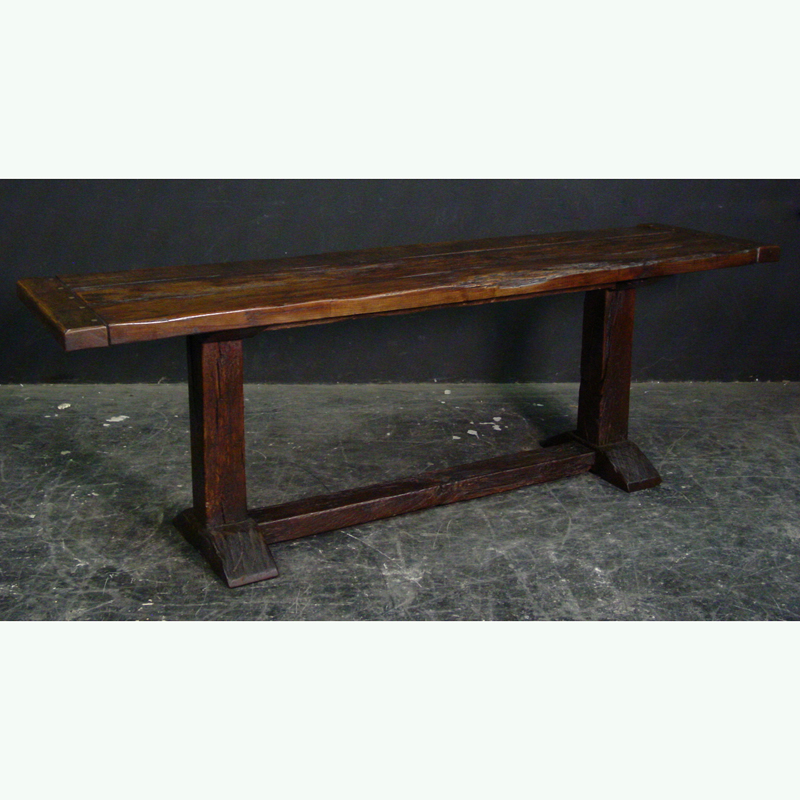 High Quality Rustic Elm Finish Narrow Trestle Base Refectory Dining Table