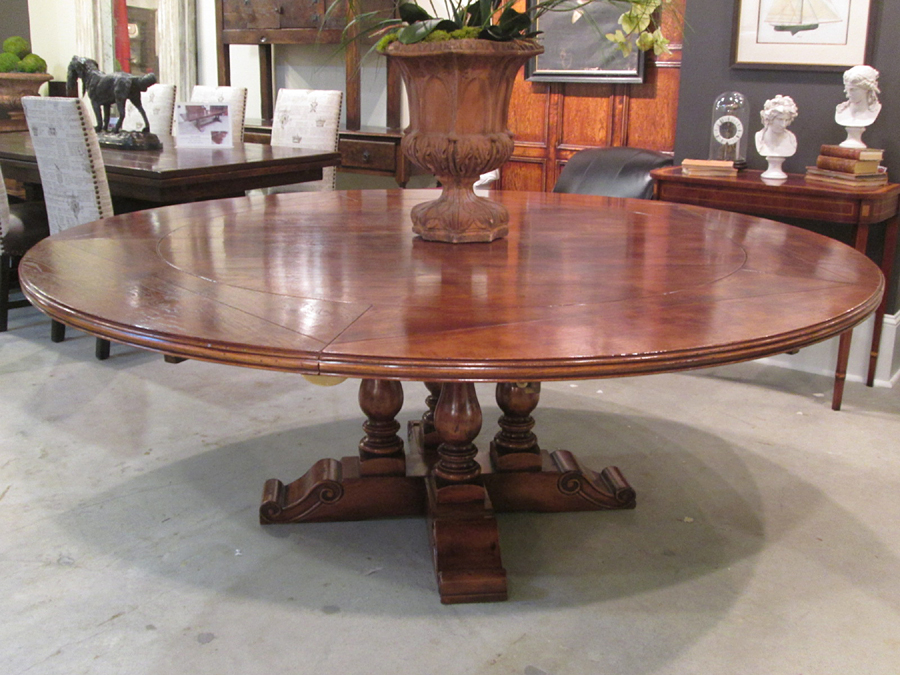 Antique Oak 60 Round 4 Baluster Base Dining Table With Outer Leaves