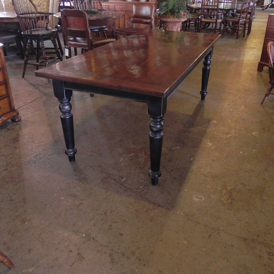 Mid Cherry Farmhouse Table On Black Painted Base