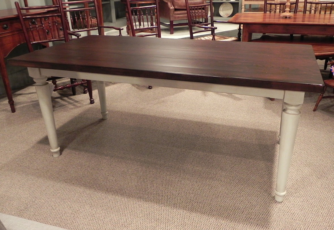 Walnut finish table with white glazed turned legs for White turned leg dining table