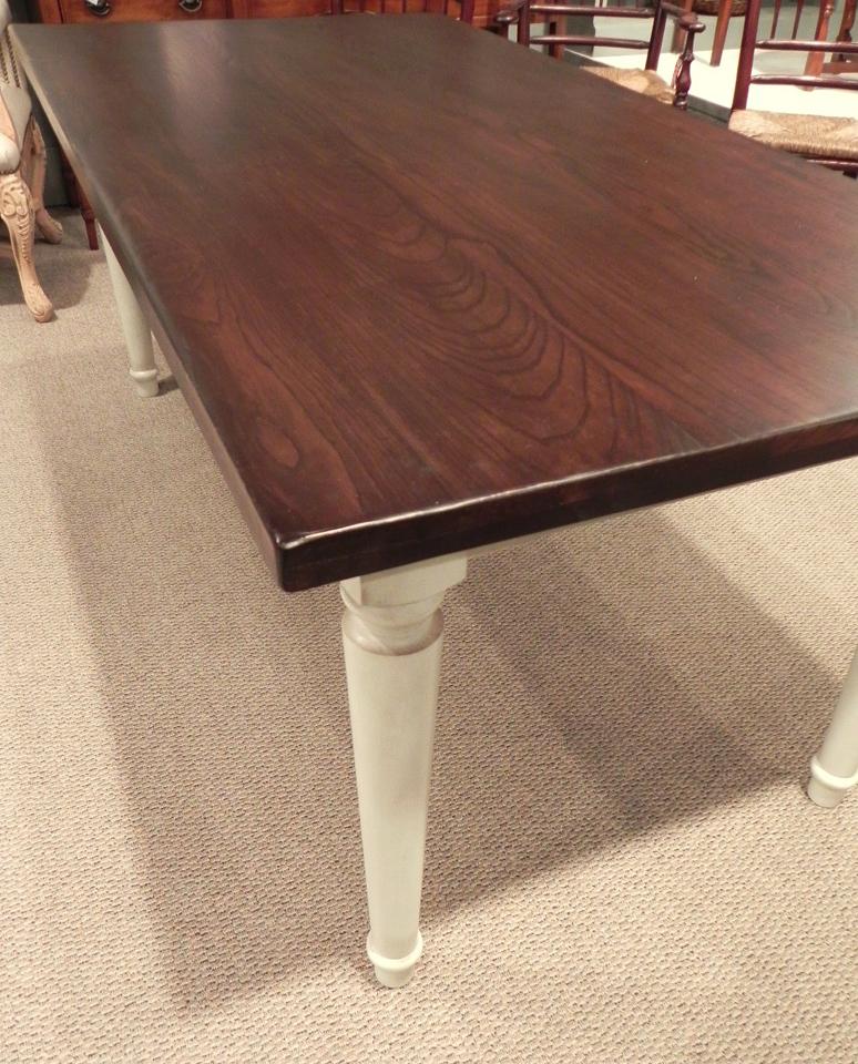 Walnut Finish Table With White Glazed Turned Legs