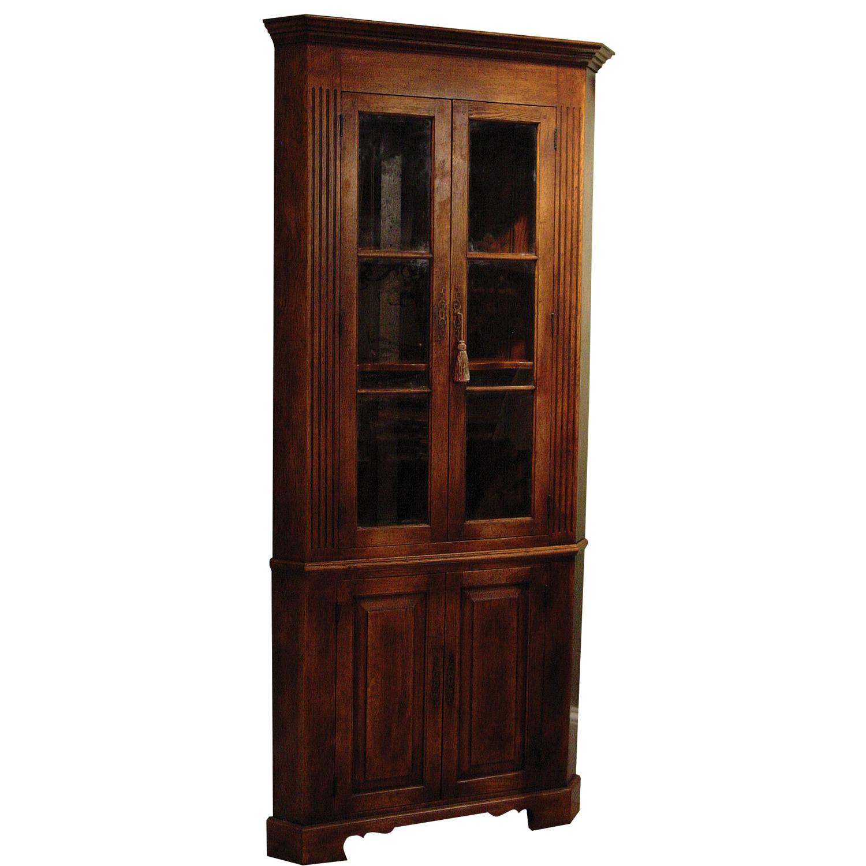 Antique Oak Finish Corner Cabinet With Glazed Top Panels