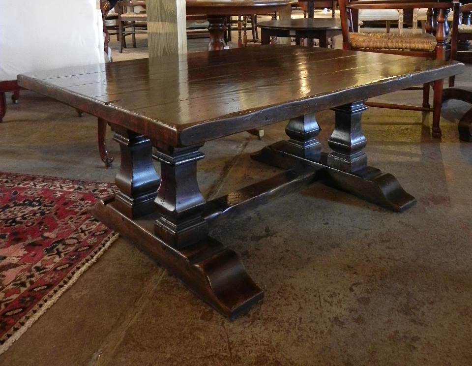 Rustic Oak Double Square Cut Baluster End Coffee Table