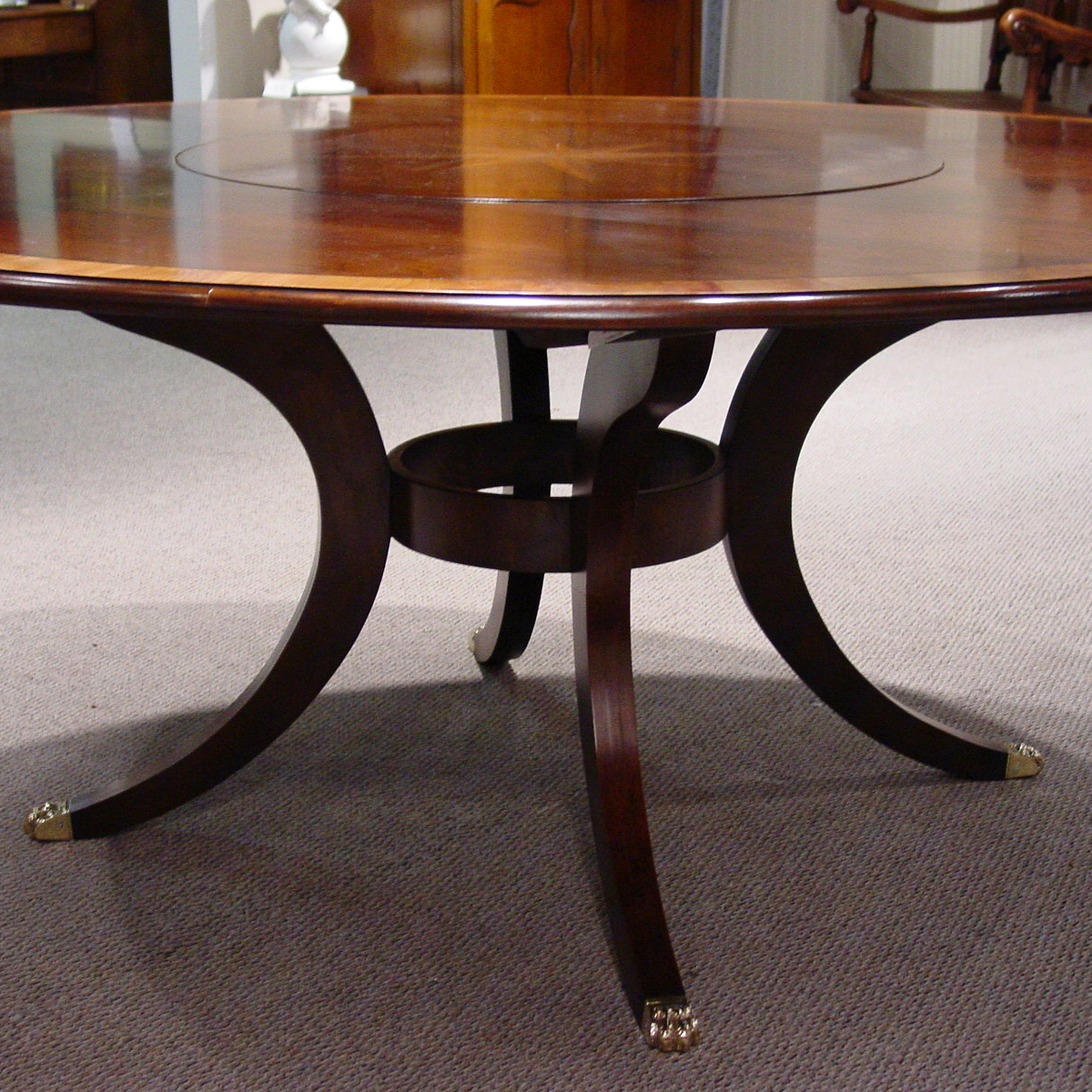 Mid Cherry Yew Wood Banded 72 Round Table With Starburst Inlay
