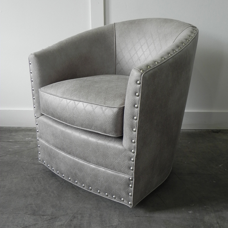 Burke Swivel Chair With Nails