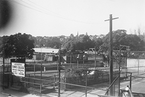 Jensen's Tennis College c. late 40's. View from Lakemount apartments.