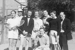 Eddie Jensen with members of The Old Vic theatre company on tour from London, 1948