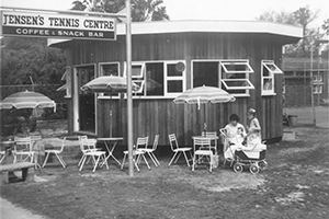 Jensen's Tennis newly built roundhouse, 1962