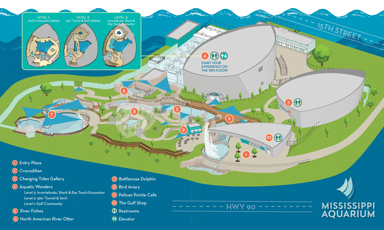 Campus map of mississippi aquarium's indoor and outdoor facility