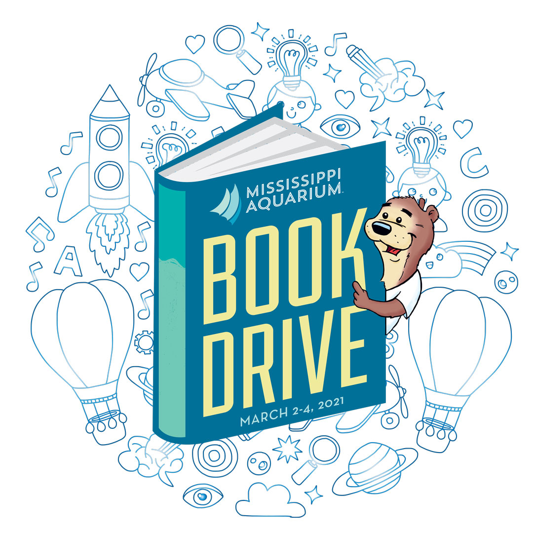 Book Drive logo for Mississippi Aquarium