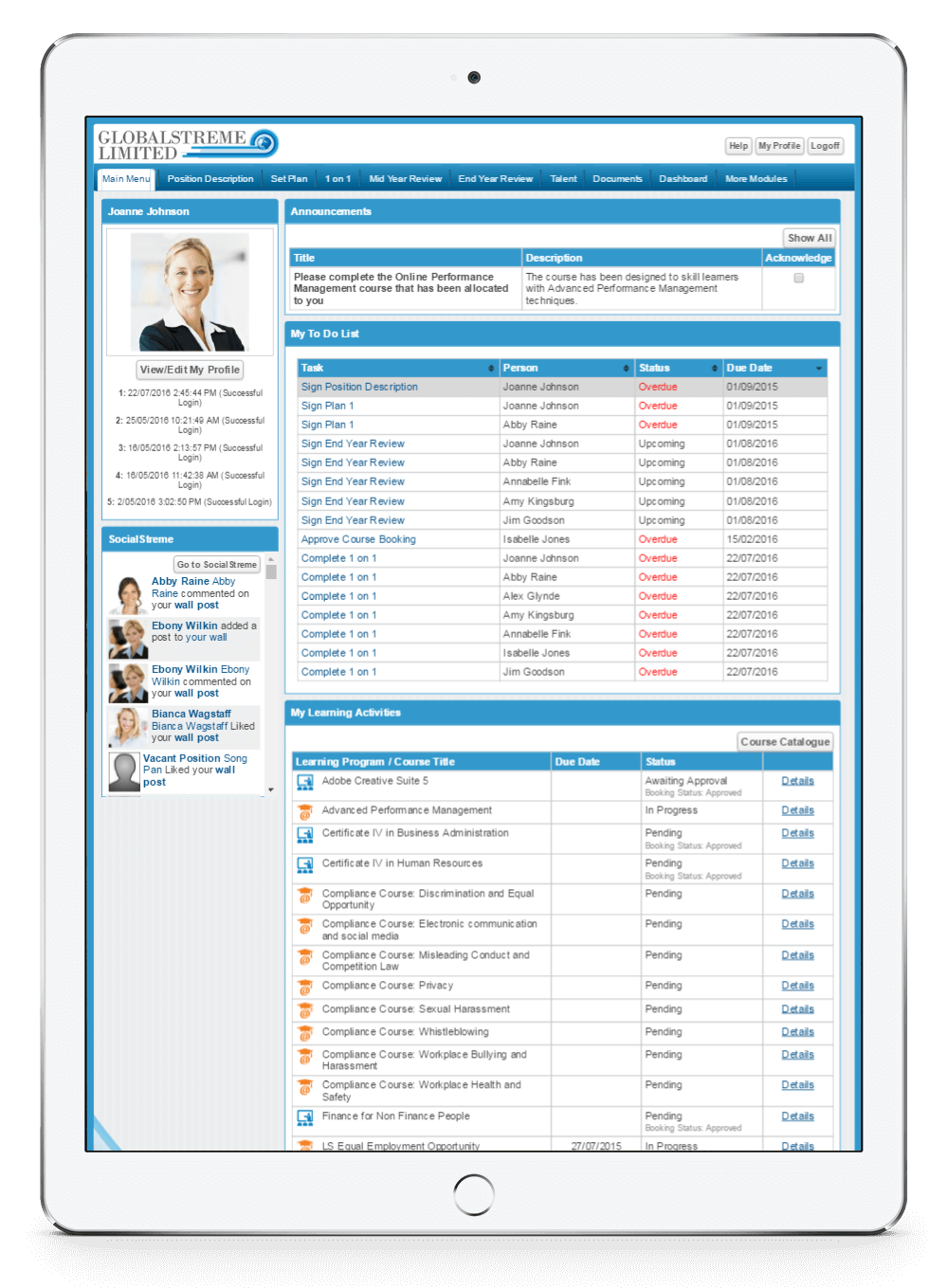 PeopleStreme's Performance Management software on an iPad