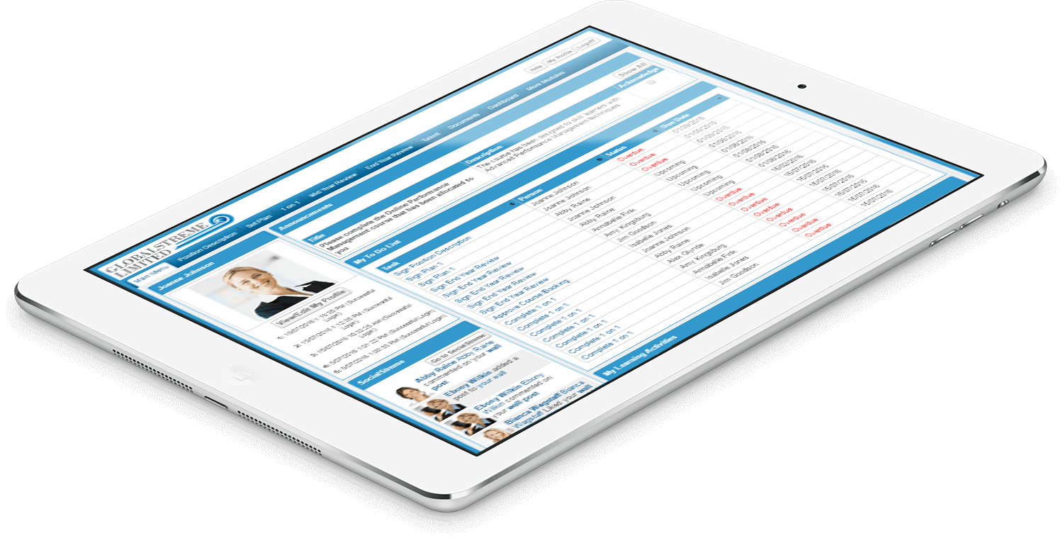 PeopleStreme Performance Management on an iPad