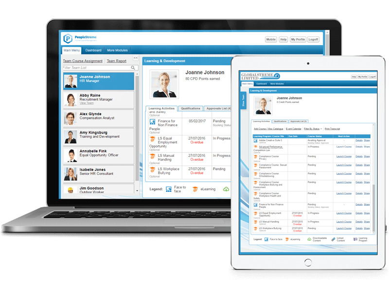 PeopleStreme HR Software on a laptop and iPad