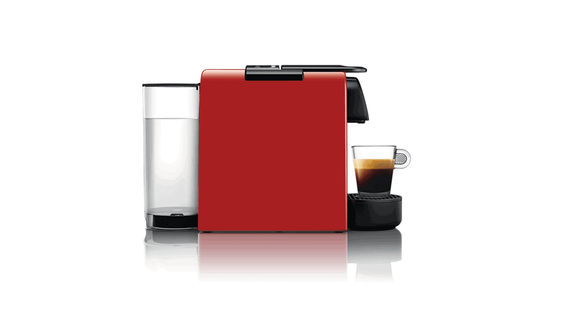 Компактная Delonghi Nespresso Essenza Mini красного цвета вид сбоку