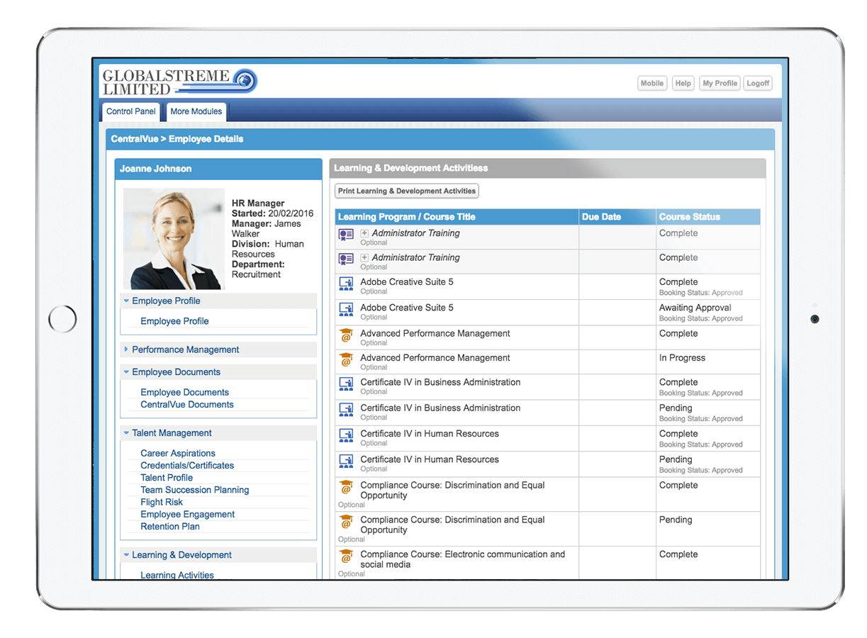 Access individual employee data across your HR modules, in one easy location