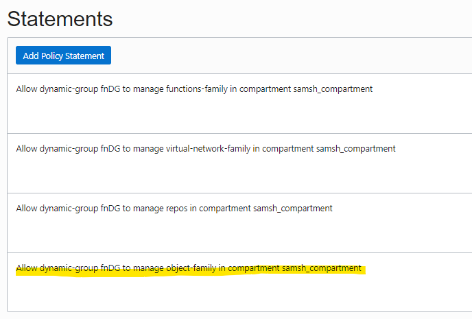 Screenshot that shows several defined policy statements.