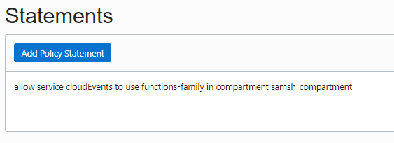 Screenshot that shows the specified policy statement.