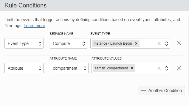 Screenshot of the Rule Conditions section of the Create Rule page, showing the specified values.