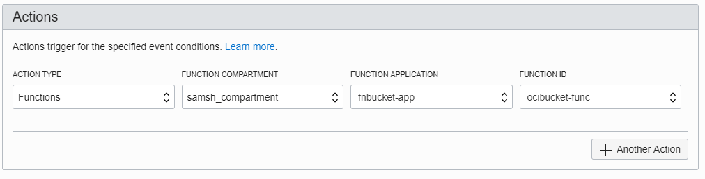 Screenshot of the Actions section of the Create Rule page, showing a function specified.
