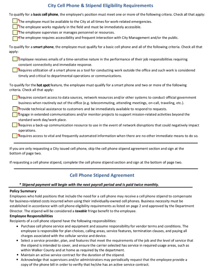 Cell Phone Stipend Eligibility In Hunstville Seamlessgov Top Forms