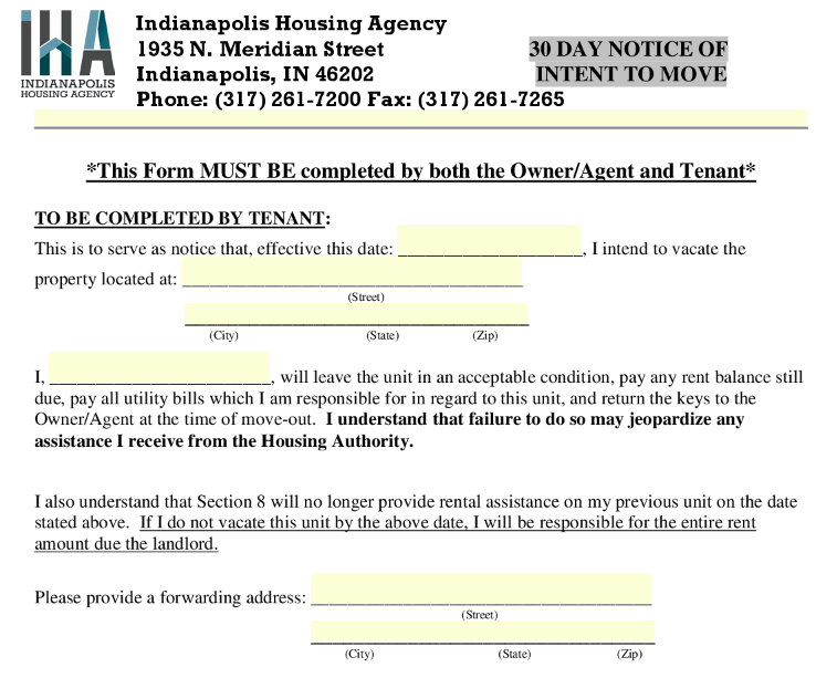30 day notice of intent to move in indianapolis seamlessgov top forms