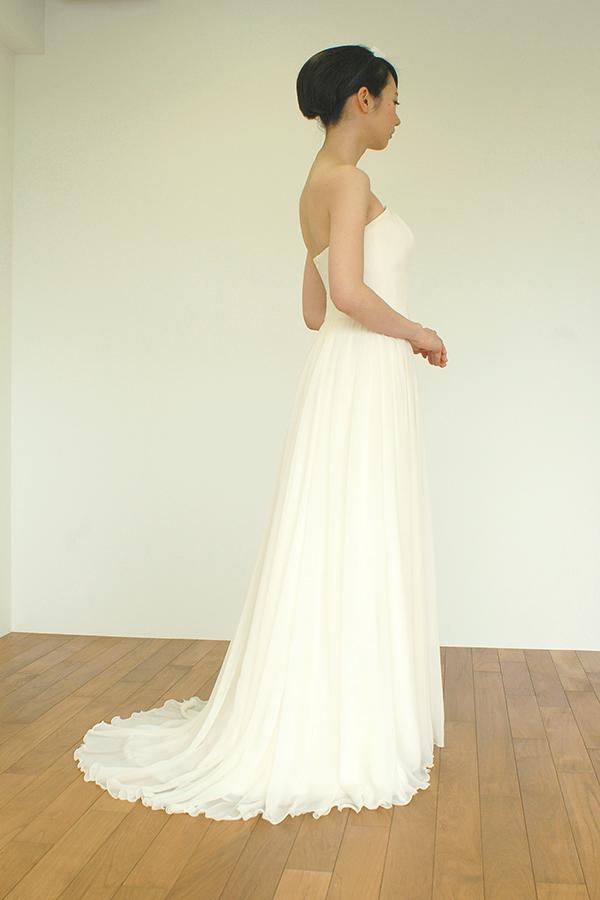 シフォンジョーゼットのハイウエスト切り替えギャザースカートのドレス
