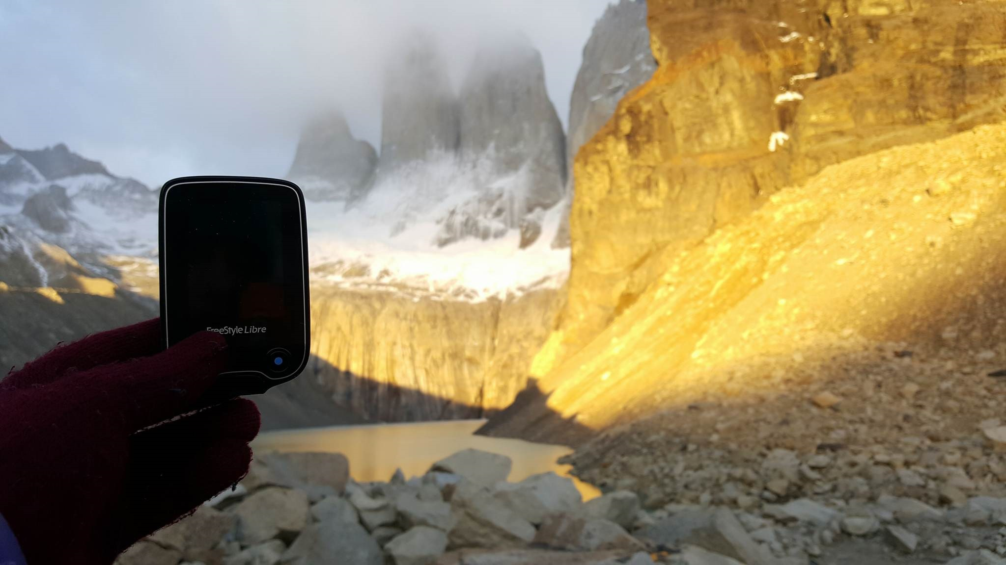 Diabetes monitor in Torres del Paine