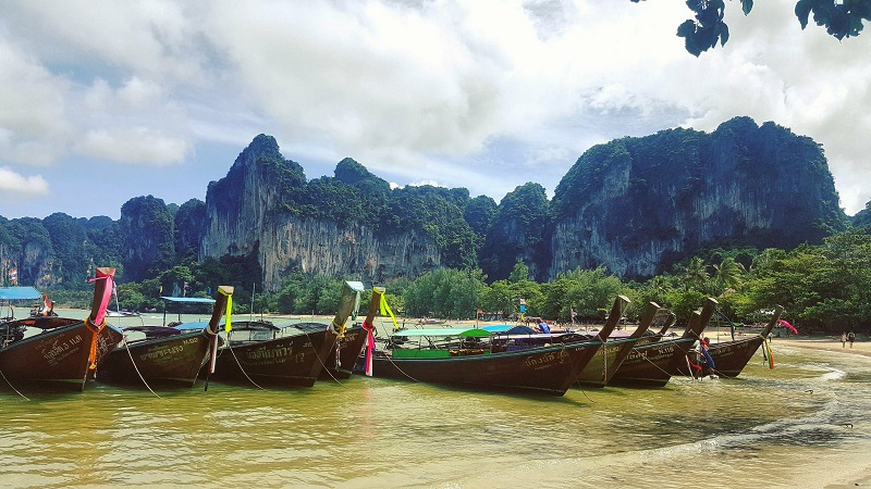 Boats in Railay Beach thailand