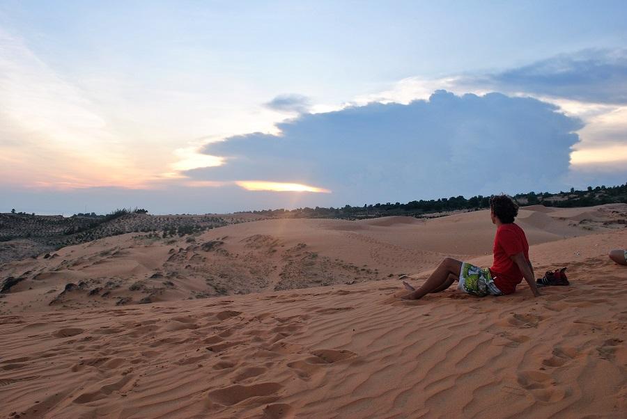 Sunset at red sand dunes Mui Ne